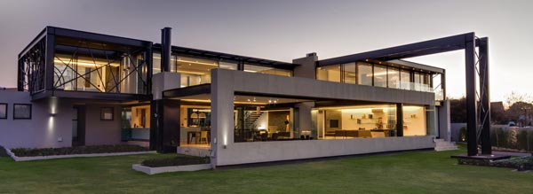 A contemporary glass house.