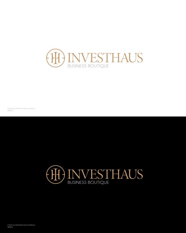 The final INVESTHAUS Business Boutique logo on white and black backgrund.