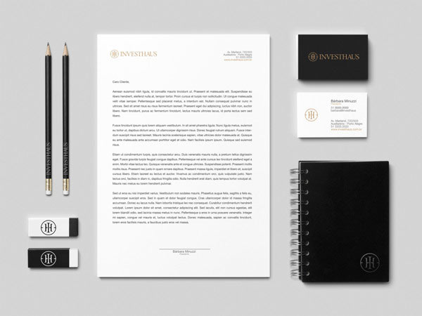 INVESTHAUS Business Boutique brand identity and stationery design.