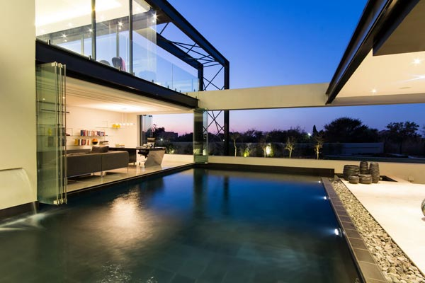 The swimming pool of House Ber in Carlsworld, Midrand, South Africa.