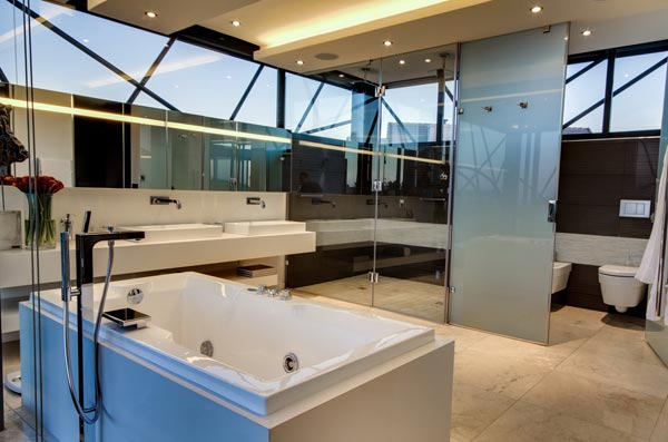 Bathroom with lavish facilities.