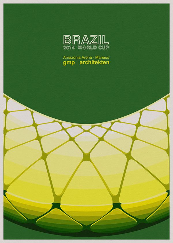 Amazônia Arena in Manaus by GMP Architekten - Architectural poster illustration by André Chiote