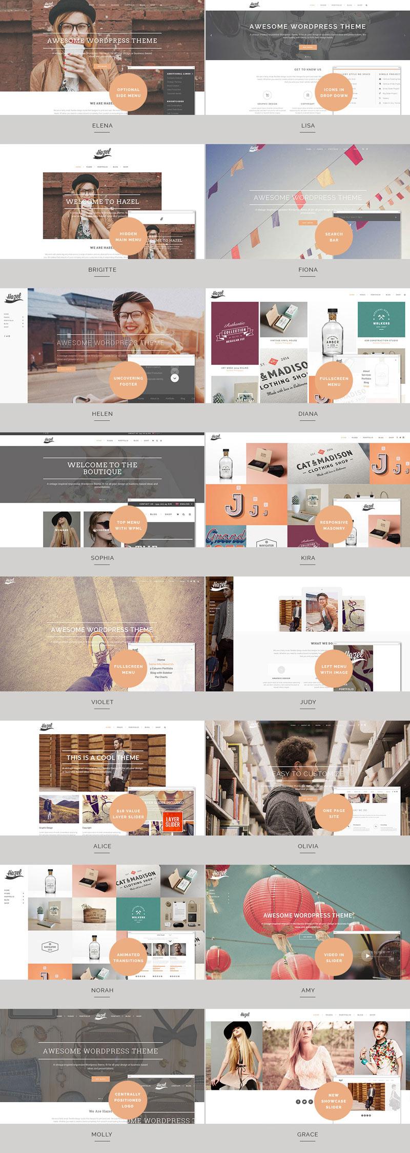 Hazel WordPress Theme with Multiple Styles