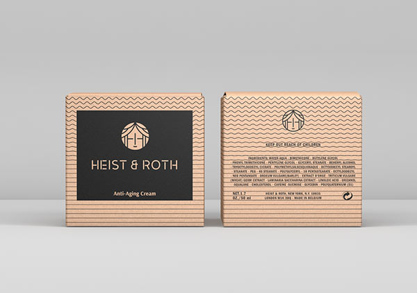 Heist & Roth - anti-aging cream packaging design - front and back.