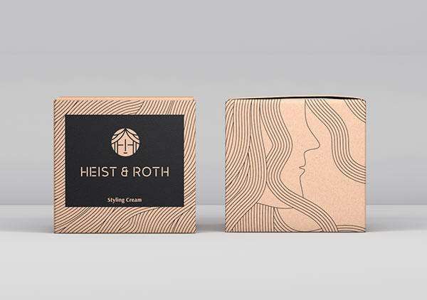Heist & Roth - styling cream packaging illustrations - front and back.