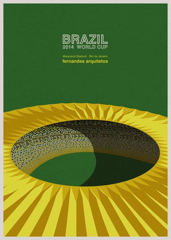 Maracanã Stadium in Rio de Janeiro by Fernandes Arquitetos - Architectural poster illustrations by André Chiote