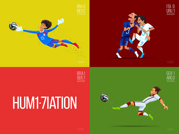 Outstanding Moments of The FIFA World Cup - Brazil 2014 - Illustrations by Dipanjan Biswas.