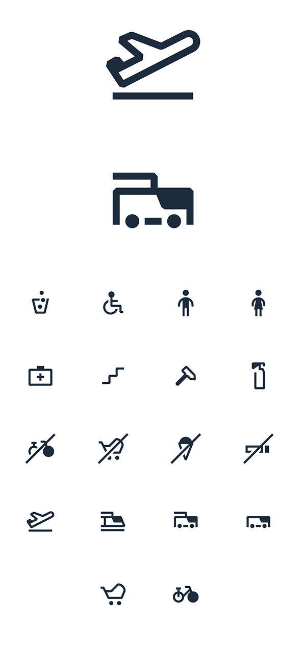 Several pictograms created as vector graphics