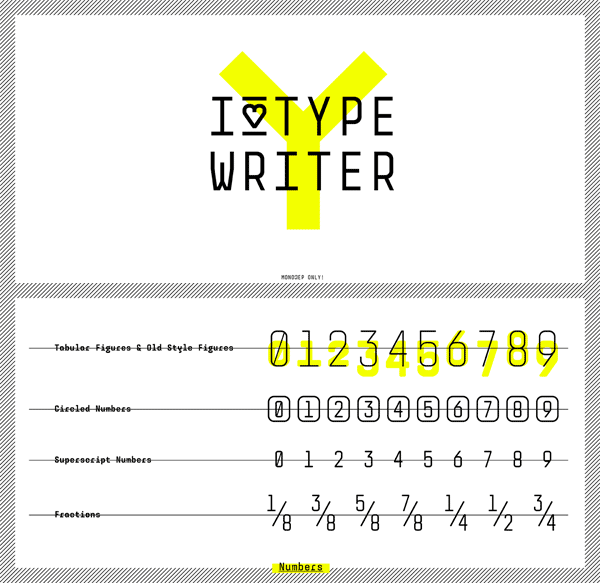Some of Monostep's countless OpenType features and number options.