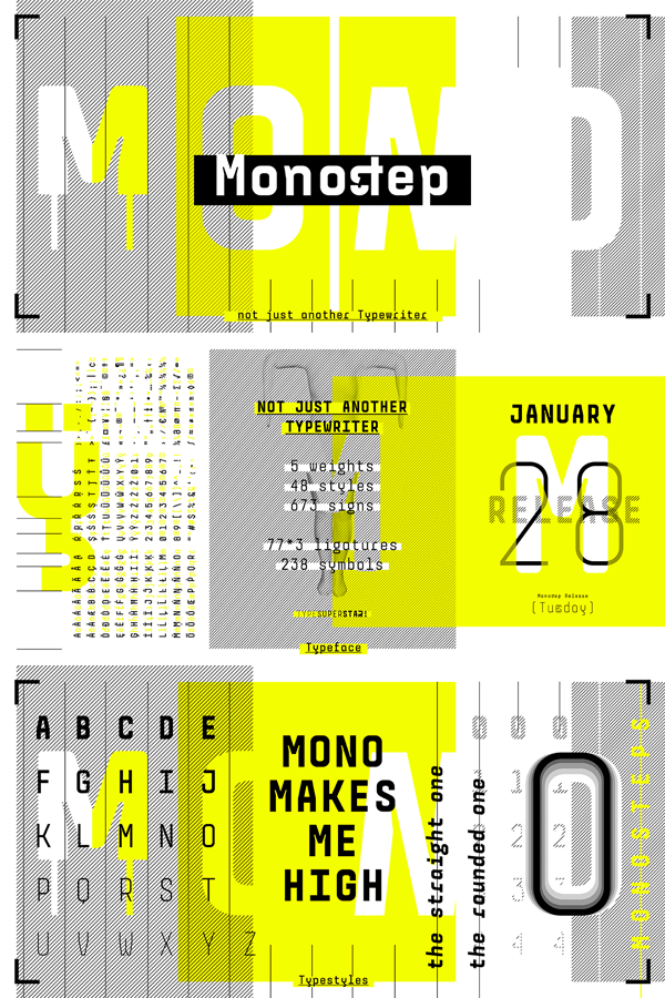 Monostep Font Family from Type Foundry and Design Collective YOKKMOKK