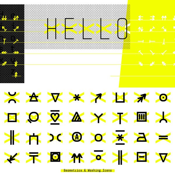 The font family includes numerous arrows and icons.