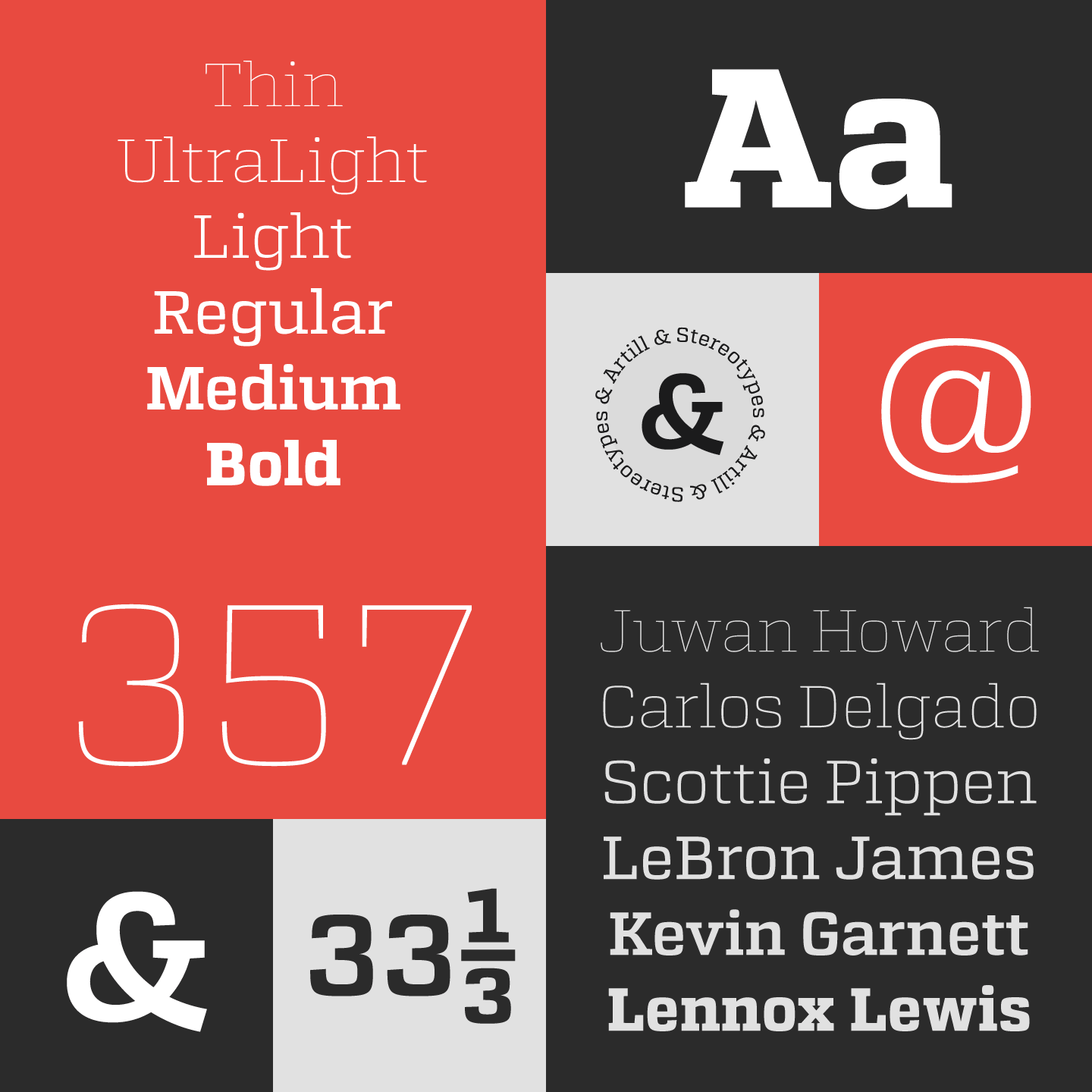 Atletico font, a slab serif type family from Stereotypes.