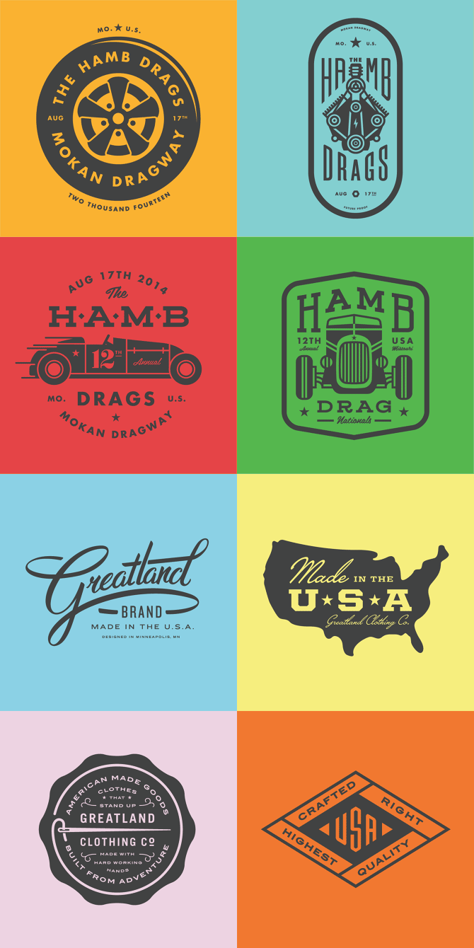 Logos, letterings, and badges by Allan Peters.