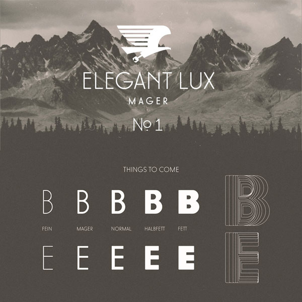 The elegant Lux Mager font by Wir Sind Schoener - free demo download.