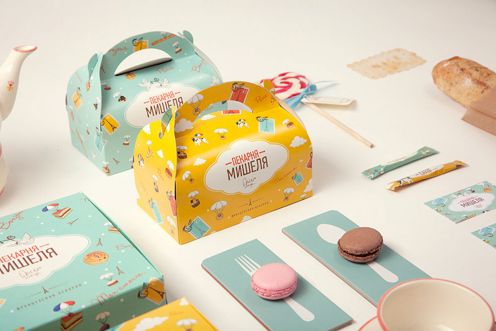 Close up of the bakery brand materials and packaging.