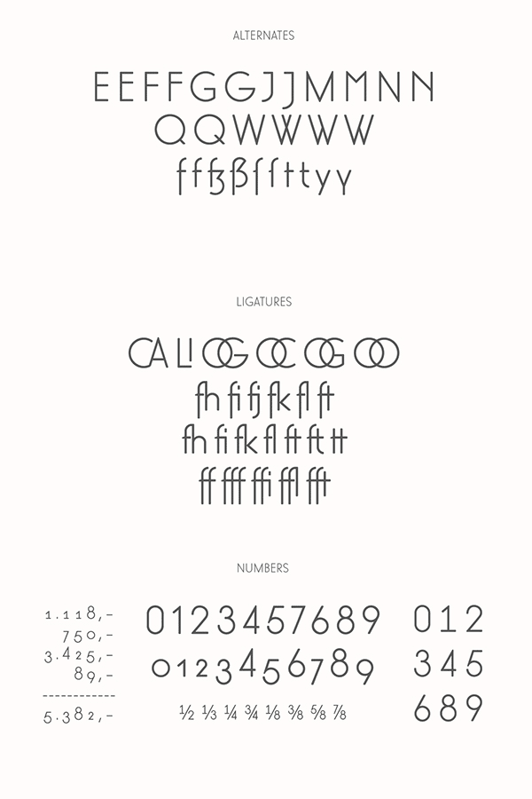 The free demo version includes different alternates, ligatures, and numbers.
