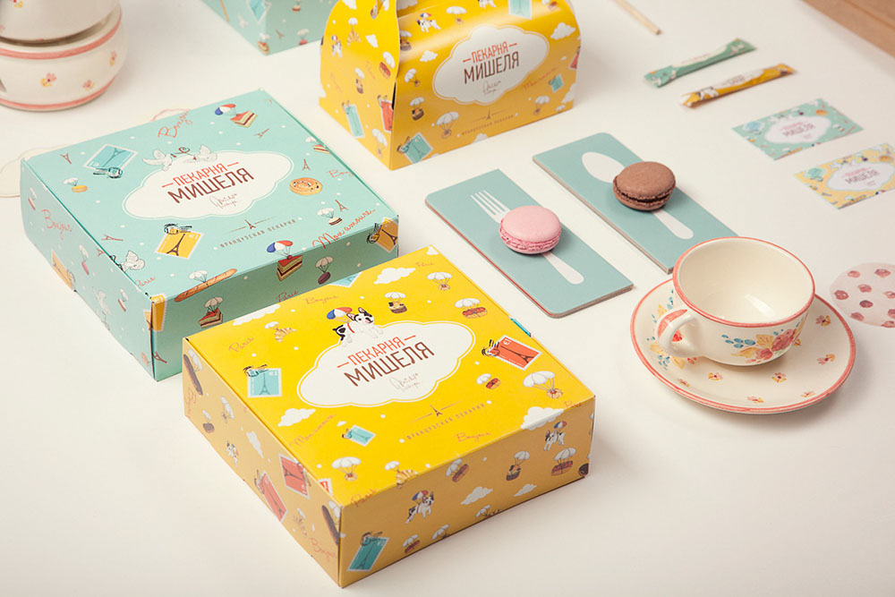 Lovely illustrated boxes for a Moscow based bakery.
