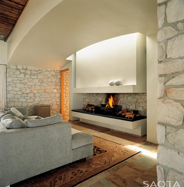 A fireplace provides a pleasant atmosphere.
