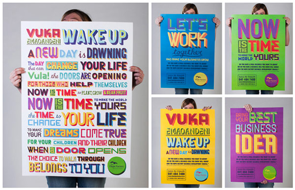 Typographic prints by MUTI for The Hope Factory.
