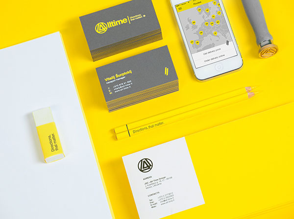 Matching branding materials from a logistics company rebranding project.