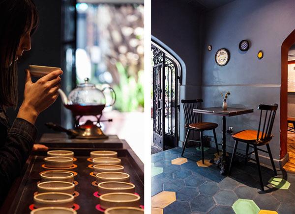 The tea house conveys a pleasant atmosphere.
