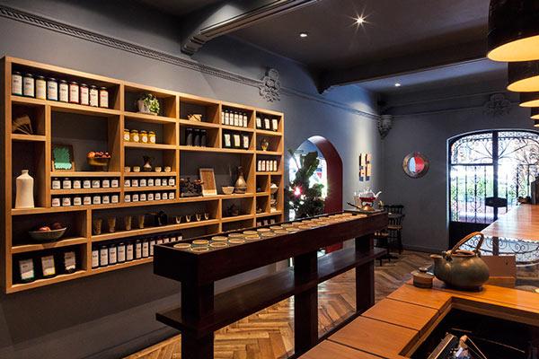 Shelf with teas from around the world.