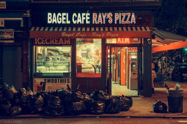 Bagel Café - Ray's Pizza - The image is part of a collection of New York City photos.
