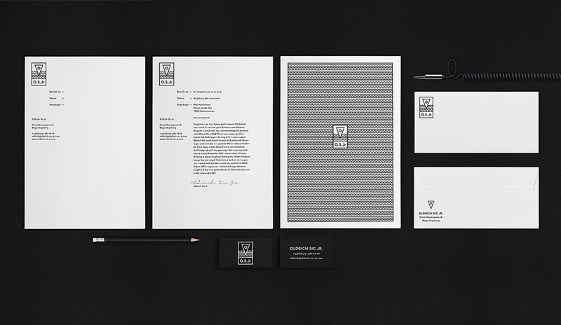Black and white stationery design.