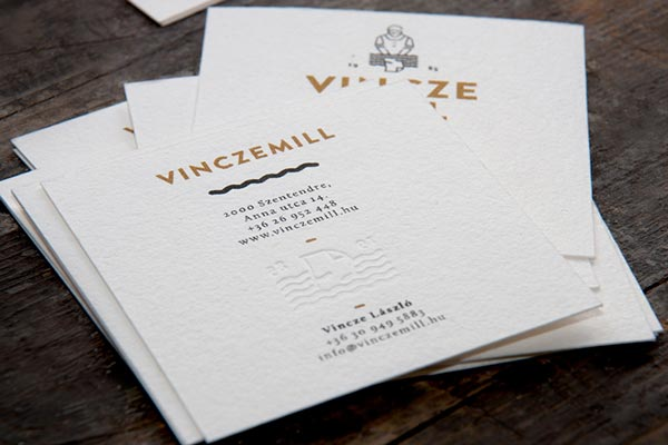Business cards with natural embossed paper.
