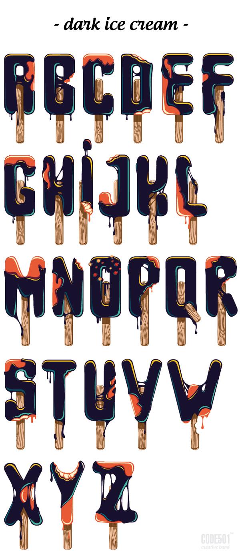 Dark Ice Cream typeface by Sergey Ermakov and Olesya Poplavskaya of CODE501.