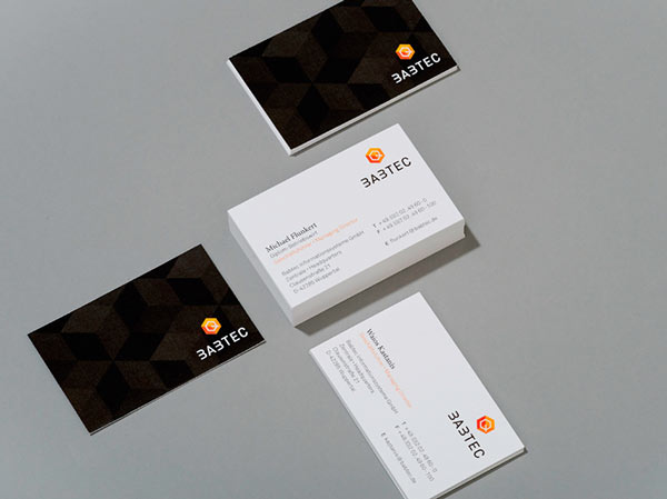 Double-sided business cards.