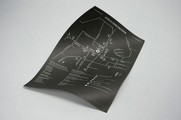 Film festival poster - backside with map.