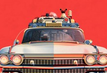 Ghostbusters 30th Anniversary Ecto-1 - Poster illustration by DKNG Studio.