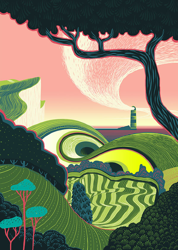 Lighthouse in the East - A colorful illustrative artwork with contrasting colors.
