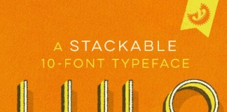 Lulo, a stackable 10-font typeface with grungy textures from Yellow Design Studio.