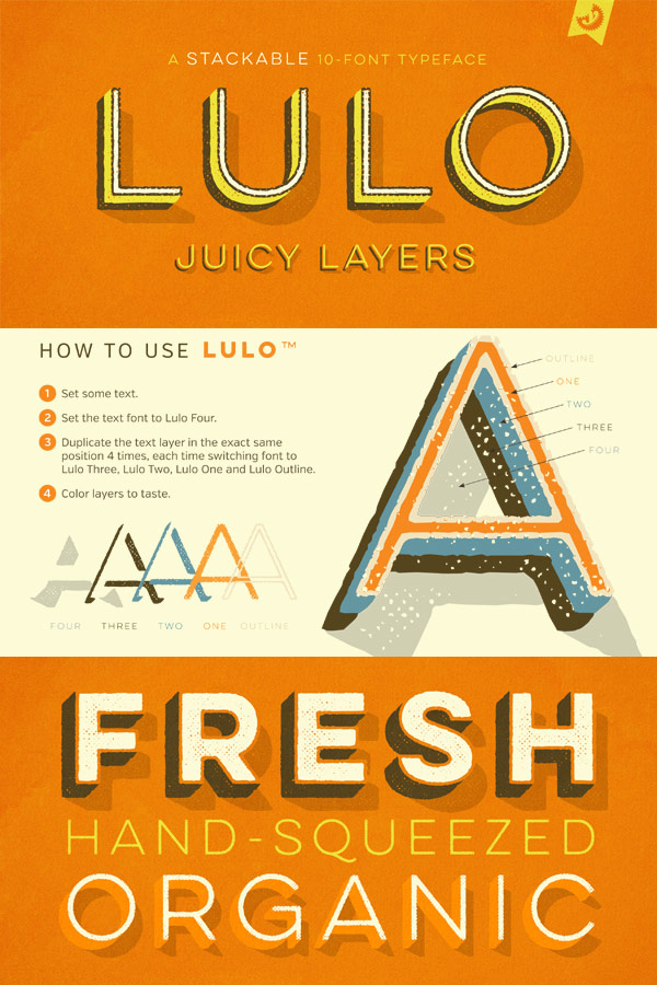 Lulo Font Family – Layered Typeface from Yellow Design Studio
