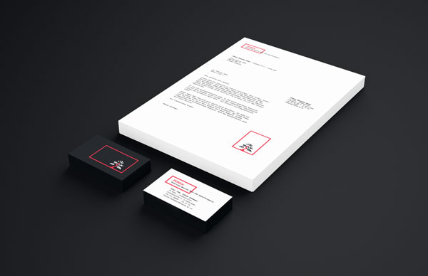 Stationery set according to the corporate identity.