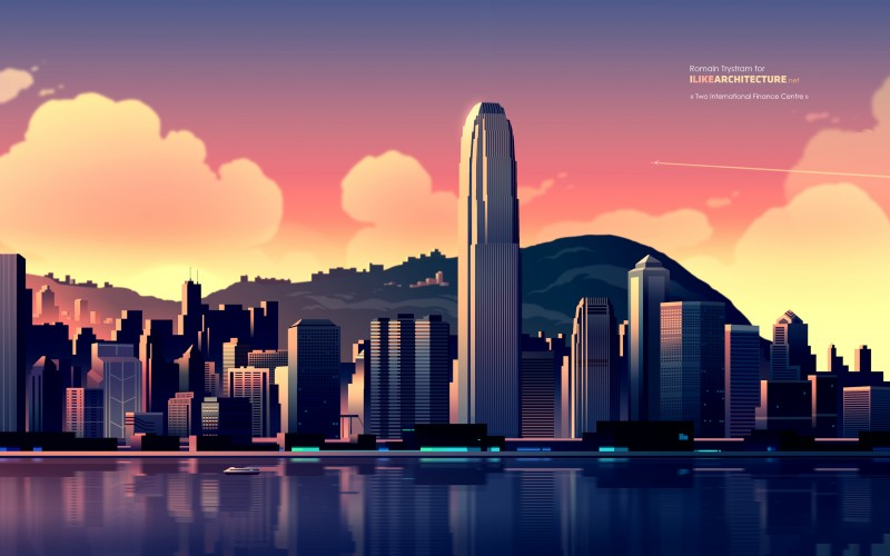 The International Finance Centre located at the waterfront of Hong Kong's Central District.