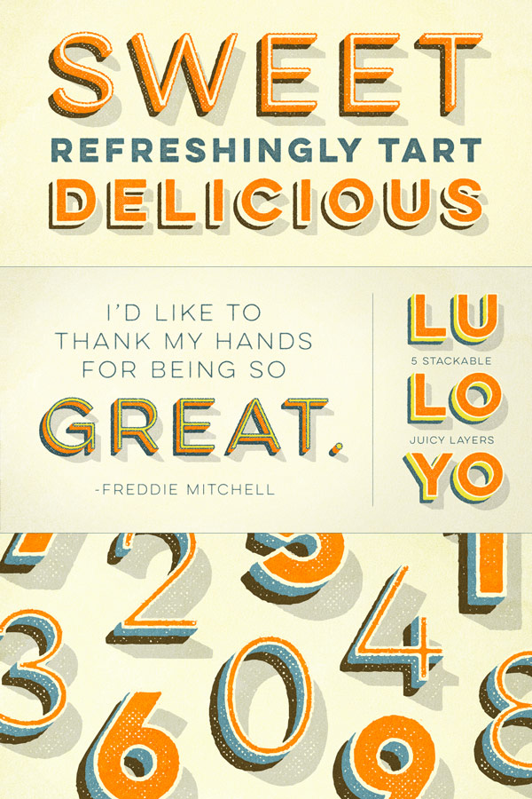 The Lulo font family, a layered typeface with 10 styles and a nice retro look from Yellow Design Studio.