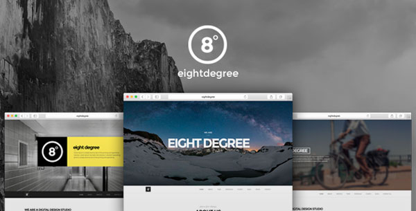 Eight Degree, a single page Parallax theme for WordPress.