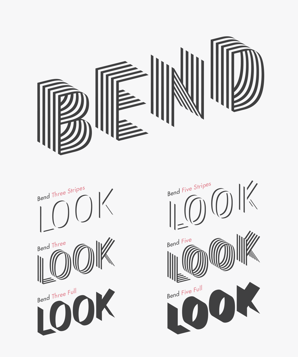 Bend Ribbon Typefaces In 6 Styles