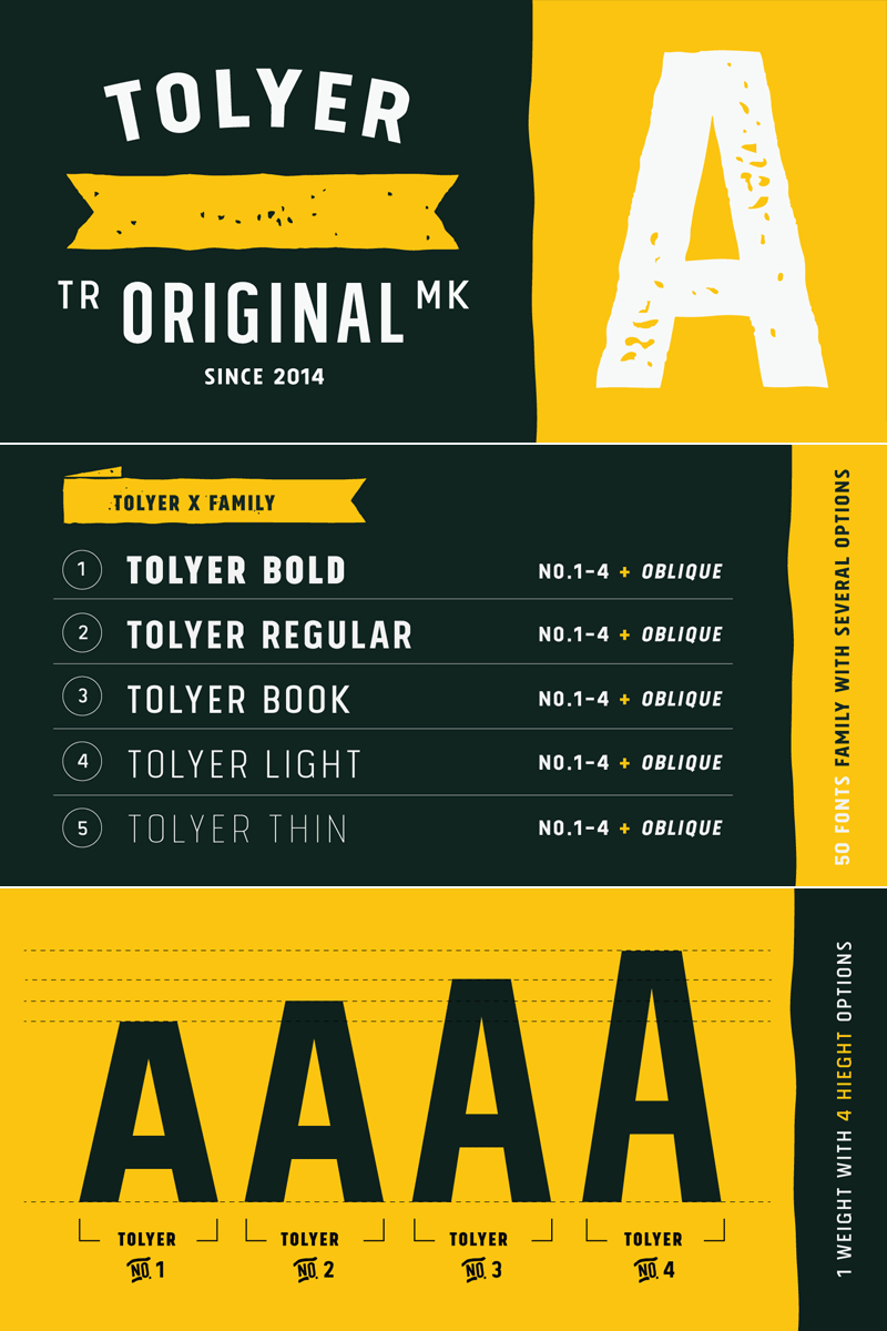 Tolyer, an all caps display font family by Typesketchbook.