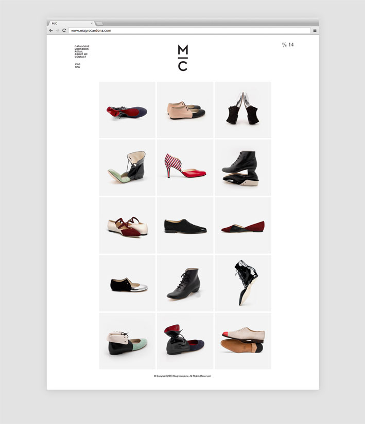 Website with the shoe collection.