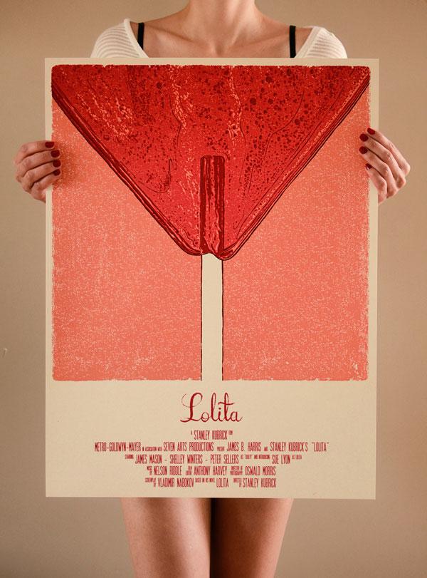 Kubrick's Lolita - poster design by Bartosz Kosowski for Spoke Art's Stanley Kubrick art show in San Francisco.