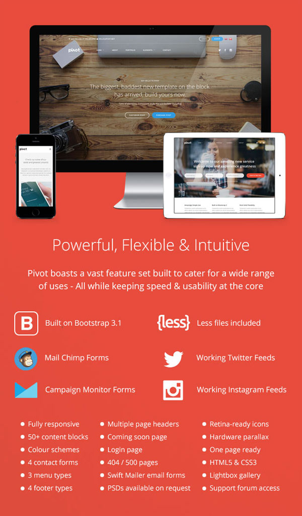 Built with latest web design technologies and well suited for any device.