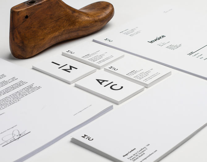 Close up of the clean designed stationery set.