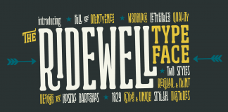 Ridewell, a wood type inspired typeface by Kostas Bartsokas.