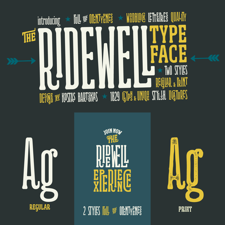 Ridewell, a wood type inspired typeface by Kostas Bartsokas.