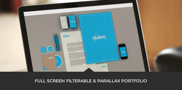 Full screen filterable and Parallax based portfolio.