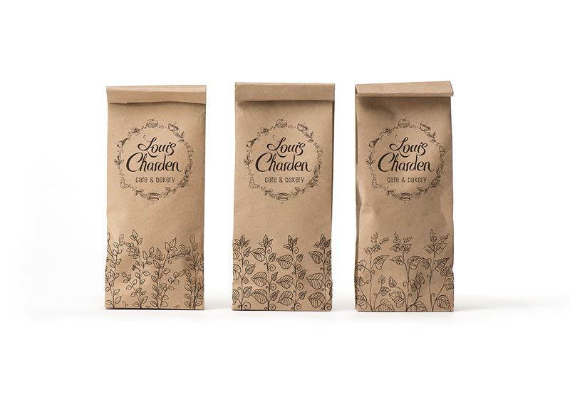 Bakery packaging with lovely illustrations and logotype.